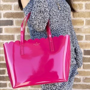 Kate spade lily cardigan patent tote hot pink new